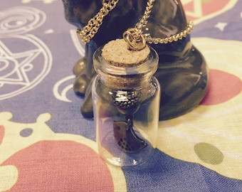 Fall Chickadee in a Bottle necklace