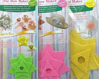 The Bow Maker Templates All Three Sizes S, M, L, Make Easy Ribbon & Fabric Bows, Clover