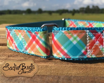 "Plaid Martingale Collar Dog Collar 1"" Adjustable dog collar"