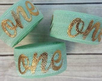5/8 MINT with Gold Foil ONE Fold Over Elastic