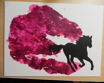Trailblazer, Horse Canvas, Melted Crayon Art, Wall Hanging