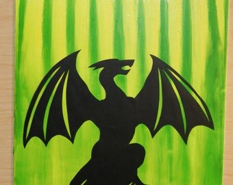 King of the Mountain, Dragon Canvas, Melted Crayon Art, Wall Hanging