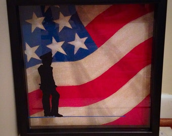 Hand Painted Police Shadow Box