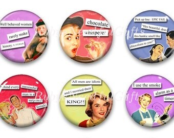 Magnets, Button Magnets, Fridge Magnets, Retro Housewife Magnets, 1 1/4 inch, Best friends gift, Hostess Gift, SET OF 6.