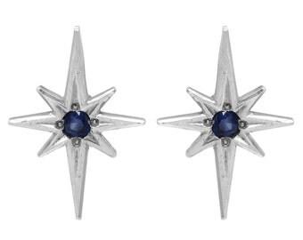 Silver Polaris earrings, Sapphire star earring, 8 pointed star earring, north star earring