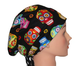 Scrub Hat Surgical Scrub Cap Chemo Vet Nurse Hat European Pixie Style Sugar Skull Black Blue Pink Red Orange Yellow  2nd Item Ships FREE