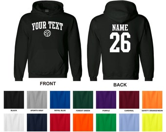 Personalized custom your text and number volleyball hooded sweatshirt, you choose the text for the front and back, ARCHED TEXT