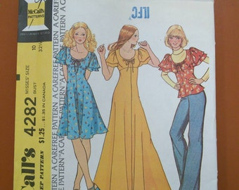 McCalls 4282 Maxi Empire Dress or Top / Blouse or Tunic Vintage Sewing Pattern 1970s 70s Size 10