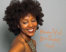Birthday card, Birthday Girl, Daughter card, Sister card, Friend's card,African American greeting cards, Afro, Black greeting cards, African