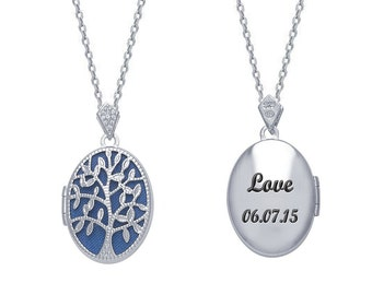 """Sterling Silver Oval Locket with CZ Stones - personalized Locket - Filigree """"Tree of Life"""" Locket - Engrave Your Message On the Back"""