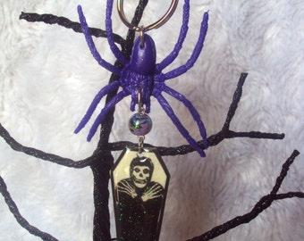 Misfits Coffin Keychain, Crimson Ghost, punk rock, horror business, spooky, unique