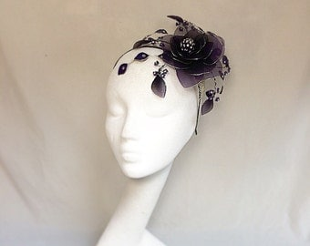Purple headdress, cadburys purple, flower tiara, wedding hat, purple fascinator, bespoke hat
