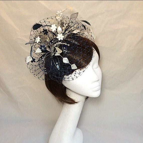 Navy Fascinator Cream Navy Hat Ascot Fascinator Mother Of