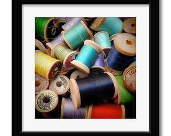 Vintage Thread Spool Photograph - Sewing Room Decor - True Color - Craft Room Decor - Vintage Thread Spool Lovers - Wall Decor