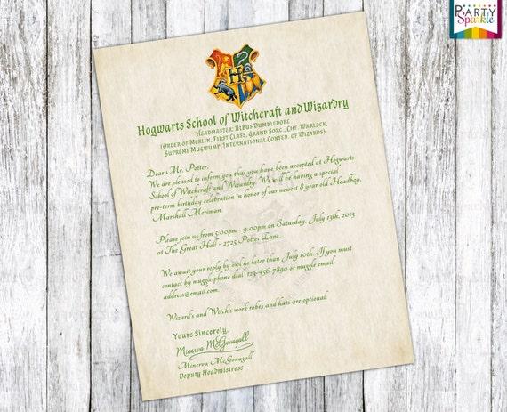 Hogwarts Acceptance Letter Invitation Personalized Harry