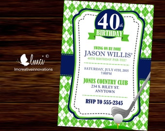 Golf Birthday Invitation, Argyle Invitation, Milestone Birthday Invitation - Digital File
