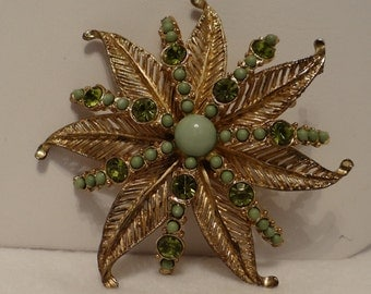 Brooch Swarovski Crystals with thermal set green glass