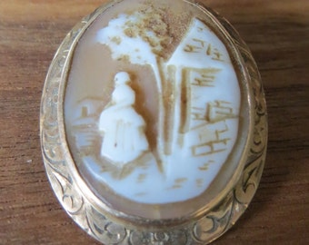Unusual Antique 14k Gold Cameo Pin Brooch, Cottage Scene