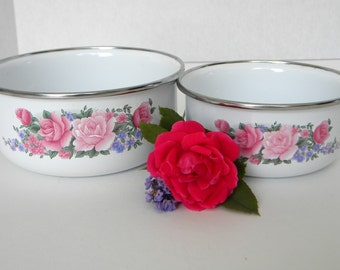 Vintage Enamelware Bowls with Flowers