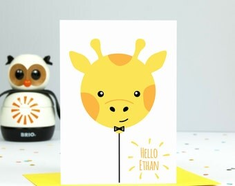 Personalised New Baby Card - Giraffe Balloon