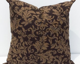 CLEARANCE SALE  Pillow Cover 18x18 Dark Brown Vintage Leaf Print Pillow Cover  Throw Pillow Cover