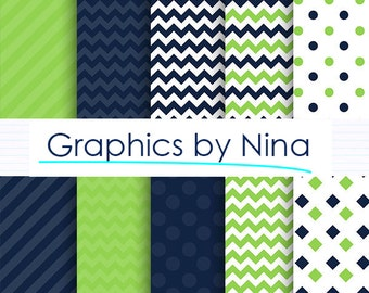 50% SALE INSTANT DOWNLOAD/ Green and Navy  Digital paper pack  for Personal and Commercial use/ Scrapbooking