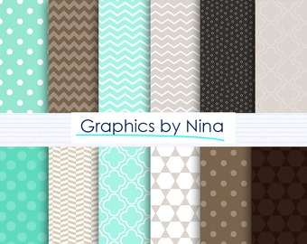 50% SALE INSTANT DOWNLOAD Aqua green and Brow and Beige  Digital paper pack  for Personal and Commercial use Scrapbooking