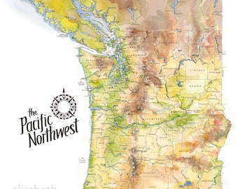 Pacific Northwest Map // ILLUSTRATION // 11x14