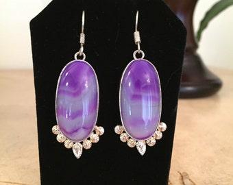 """Purple Botswana Agate 2 1/4"""" Silver Plated Earrings"""