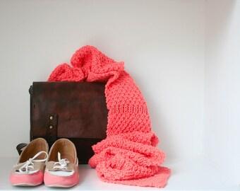 SALE: 20% off. Lulu. Extra long wool scarf in neon orange/pink.