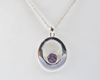 Vintage Silver Purple Pendant Necklace