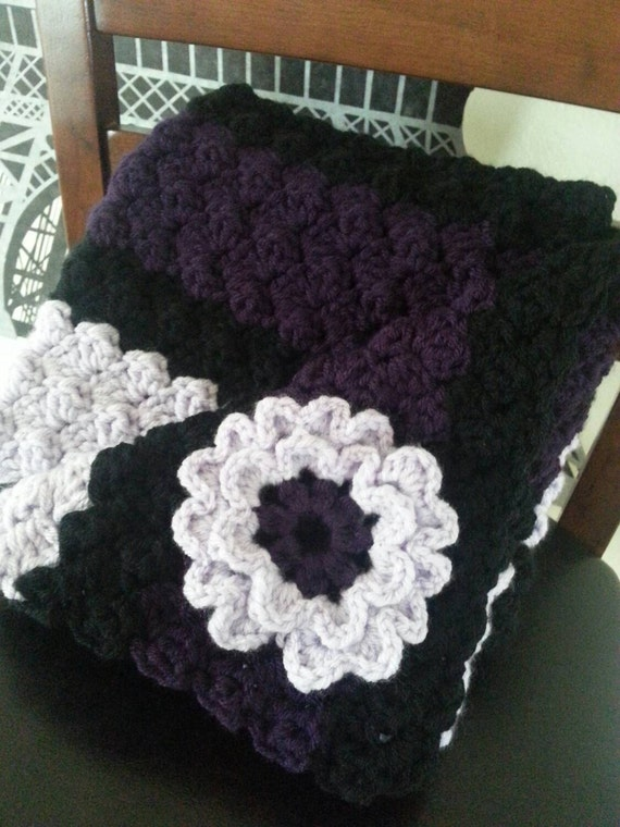 Infant Purple and Orchid Crochet Afghan Baby Blanket by ...