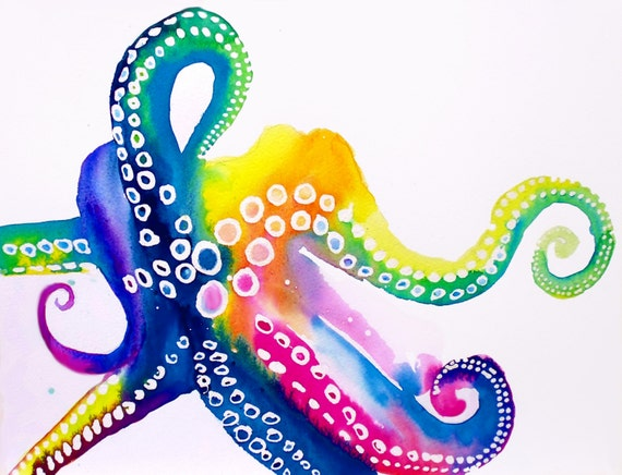Colorful octopus fine art print fashion by kimberlygodfrey for Colorful octopus painting