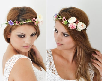 Flower Crown Boho Chic Hair Flowers, Wedding Tiara, Wedding accessories, Bridal flowers, Fairy Crown,Floral garland, Bridal Hair Wreath