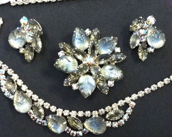 SALE! Juliana Grand Parure - Smokey Grey and Blue Necklace, Bracelet, Earrings and Brooch