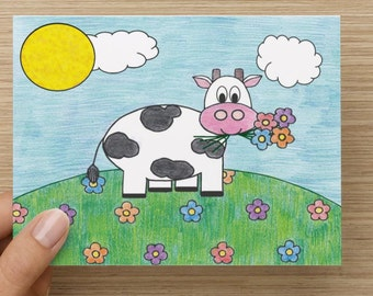 Thanks a Bunch Cow Thank You Card