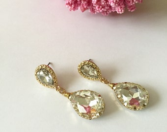 Clear Gold Tear Drop Bridal Earrings
