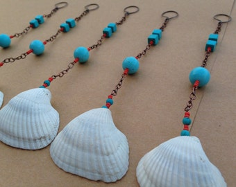 Shell Shower Curtain Decoration 6 Pieces Made With Turquoise Died Howlite And Coral Glass Beads