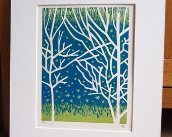 Kelvingrove Park lll Lino Print Lino Cut.