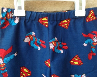 Boys Superman Lounge Pajama Pants, Superhero, Birthday Party Gift Favor, Cape, Kids Size 12mo, 18mo, 2t, 3t, 4t, 5t, 6, 7, 8