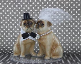 Love Pups Pugs Cake Topper/ Bride & Groom Custom Cake Topper / Decoration