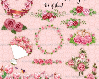 35 Pink Roses |  Hearts | Wreaths | Dividers | Clusters | Bouquets | Clipart Transparent PNG Instant Download