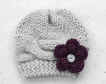 Knitted Baby Girl Hat, Cable Baby Girl Hat, Cable Knit Baby Hat, Flower Knit Baby Hat, Gray Winter Baby Hat, Baby Girl Outfits, Hospital Hat