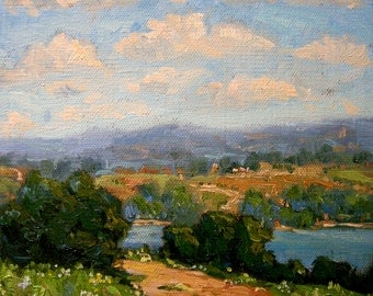 Tuscany hills lake original painting italy Sessa