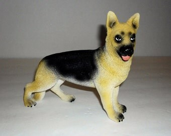 Vintage Resin German Shepherd Dog Figurine, Pet Decor