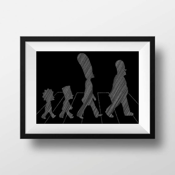 Minimalist movie wall art poster print simpsons by belugastore for Minimalist wall art