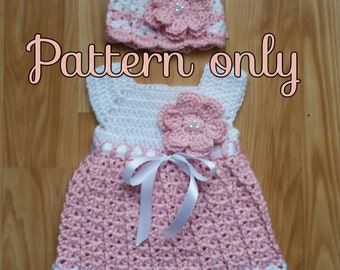 Dress and hat pattern 0-6 months Crochet baby girl set. newborn set. Digital pattern.