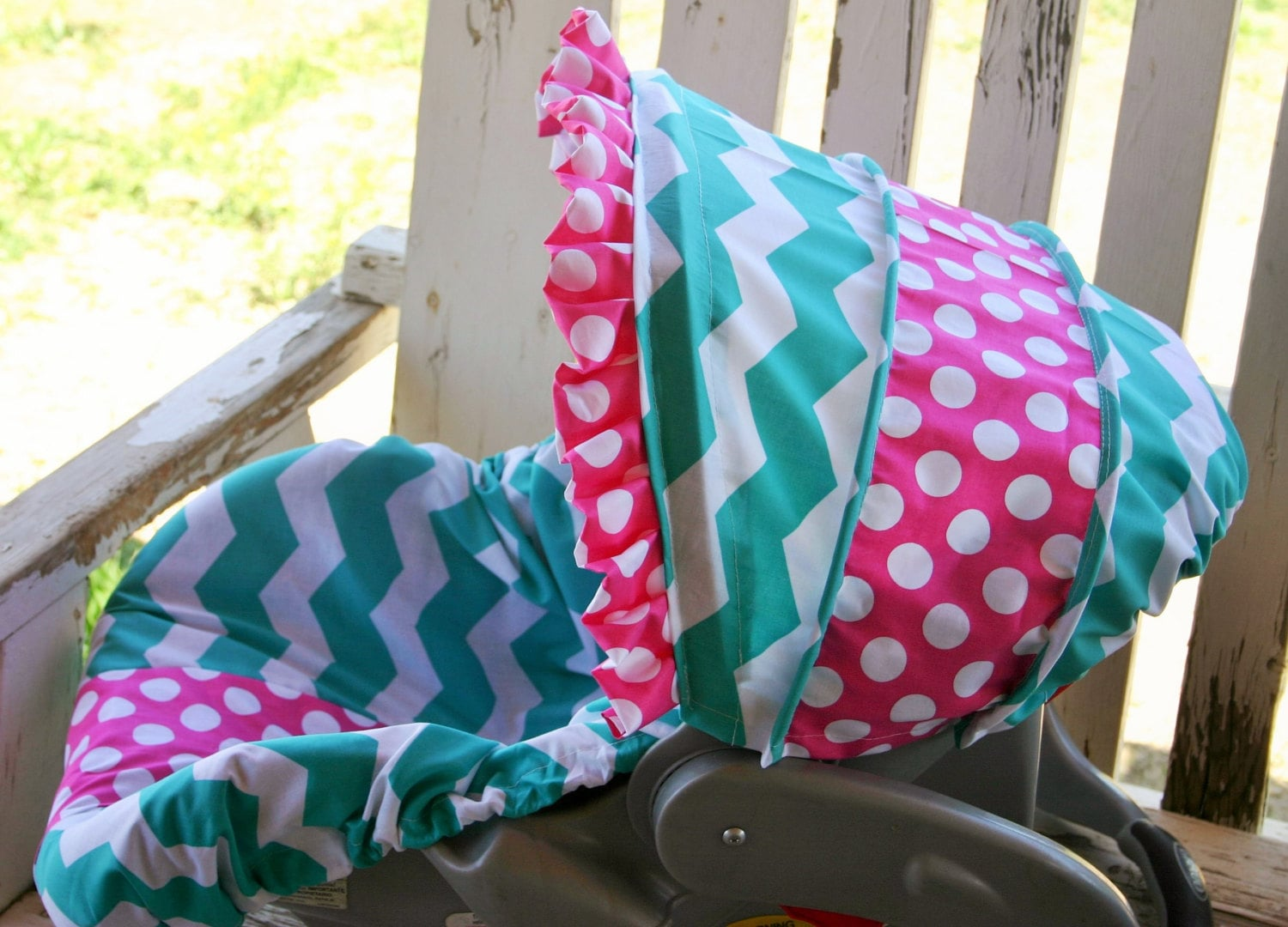 teal and white chevron and pink polka dot cotton car seat. Black Bedroom Furniture Sets. Home Design Ideas