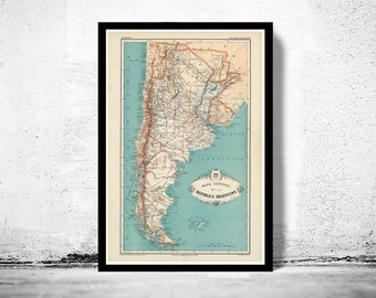 Old Map Argentina Antique map 1888