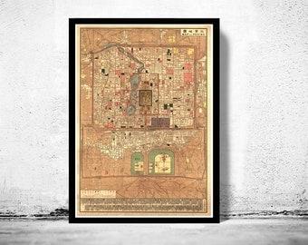 Vintage Map of Beijing China Peking 1914